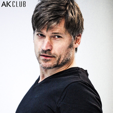 AK CLUB Brand T-shirt Nikolaj Coster-Waldau Advertised V-Neck Tshirt LOGO Embroidery Short Sleeve T Shirt Men T-shirt 1700125