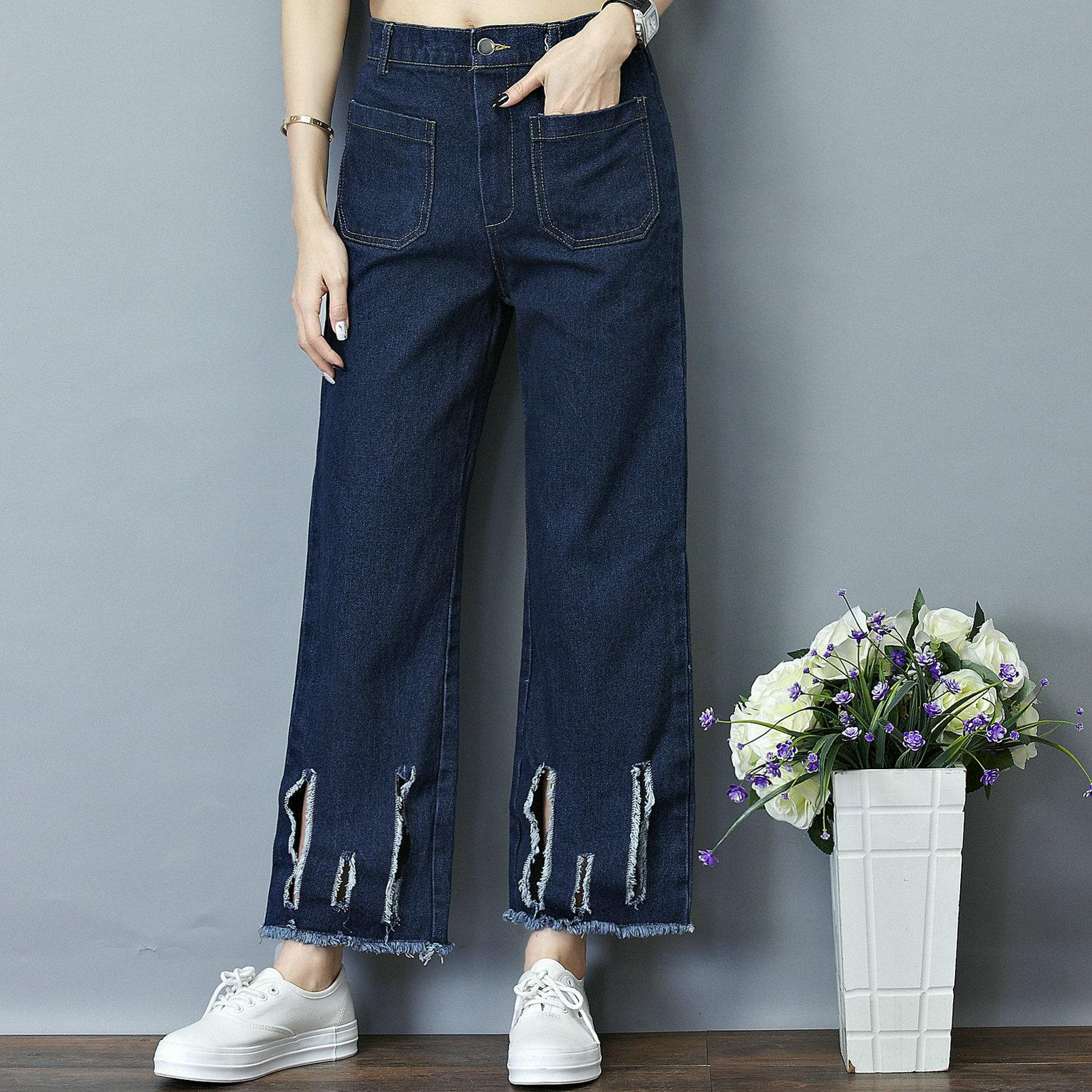 plus size denim jeans panty women spring autumn 2017 bermuda feminina loose hole jeans harlan denim pants female A1563Одежда и ак�е��уары<br><br><br>Aliexpress