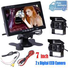 "7"" TFT LCD Monitor + 2x IR Reversing Camera Rotating Screen Full color Display with Rear View Camera kit with Universal Stand"