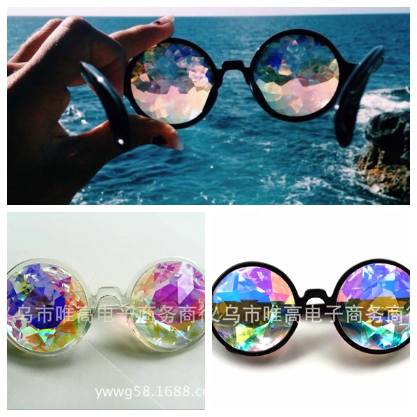 2017 New Sunglasses  Retro Round Kaleidoscope Sunglasses Men Women Designer  Kaleidoscope Men Glasses Cosplay goggles  <br><br>Aliexpress