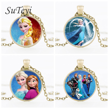 SUTEYI Round Glass Necklace Queen Elsa Necklace Snow Queen Pendant Princess Jewelry Picture Necklace For Daughter birthday gifts