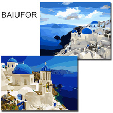 BAIUFOR blue mediterranean seascape wall pictures DIY digital oil painting painting by numbers hand painted art home decoration