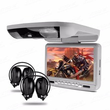 "XTRONS 1pc Grey Overhead Monitor 9""Digital Screen Flip Down Slim Car Roof DVD Player + IR & FM Transmitter+Headset 2 Headphones"