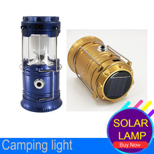 6 LEDs Rechargeable Hand Lamp Collapsible Solar Camping Lantern Tent Lights for Outdoor Lighting Hiking Camping Solar USB Bulb