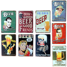 Vintage Metal Tin Sign Drink Good Beer  Retro Plaque Poster Bar Pub Club Wall Tavern Garage Home Decor 7 Style 1pcs