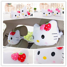 2PCS Free Shipping Cute Car Neck Pillow With Pink Bowk,Hello Kitty Car Accessories White With Pink Red Color
