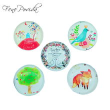 1pcs 25mm Hand-drawing Style Home Decoration Cute Fox Crystal Glass Refrigerator Magnet Kids' Cartoon Magnetic Sticker H007(China)