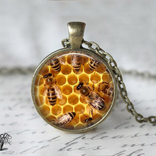 JEPHNE Honey Bee Necklace Save the Bees Jewelry Glass Dome Cabcohon Charm Pendant Necklace Fashion Jewelry Gifts for Women Men