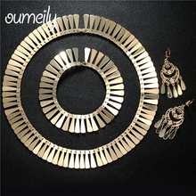 OUMEILY Jewelry Sets Fashion Italian Gold Color Jewelry Set For Women Choker Wedding Jewellery Costume Indian Jewelry Set(China)