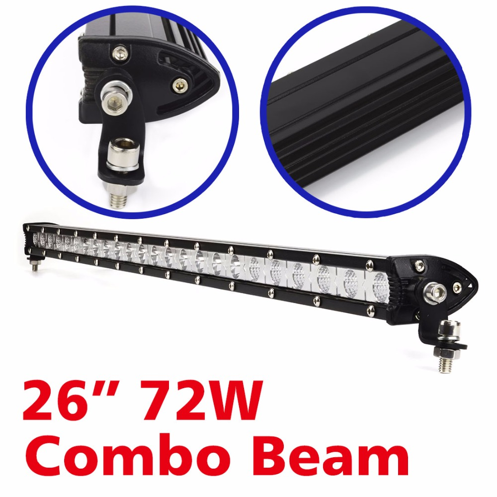 2016 hot sale 72W High Intensity Single LED Light Bar Work Off-road For Jeep Truck 4*4 SUV ATV Tractor Combo headlight bar <br>
