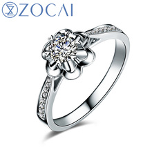 ZOCAI 2014 New Arrival para para sakura 0.15 ct natural genuine diamond 18K white gold ring fine jewelry W05343