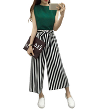 Summer Casual Women Elastic High Waist Striped Wide Leg Pants Black White Stripe Loose Trousers Femme Ankle-length Pantalon Bow