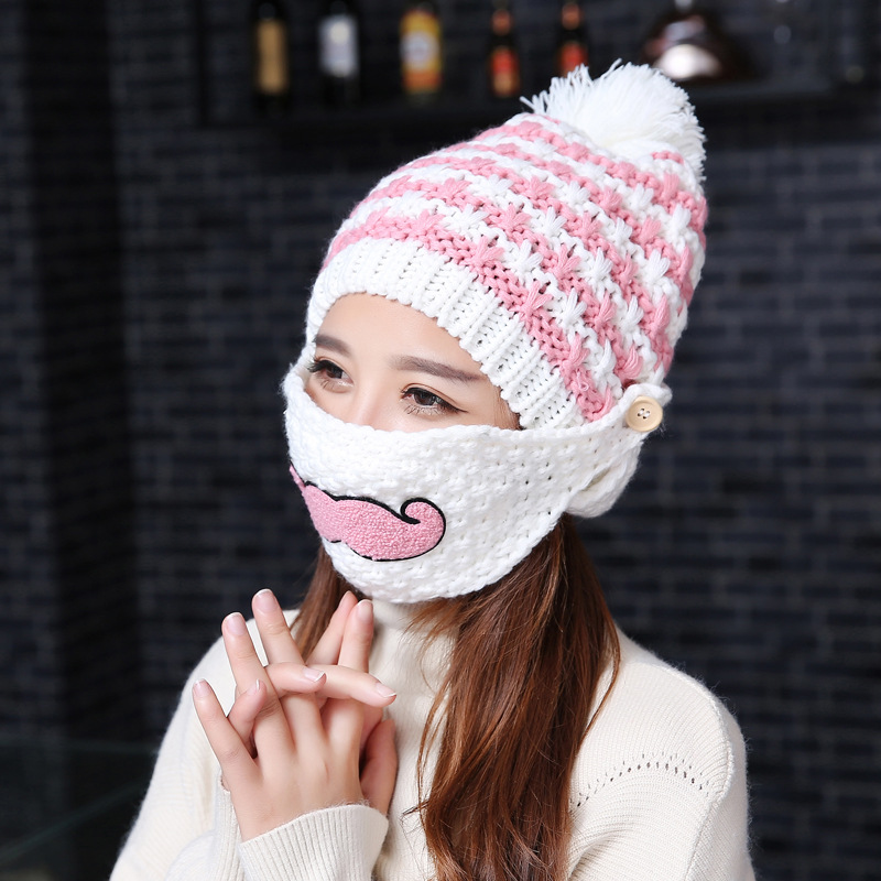 The New Tide Cute Women Fashion Casual Wool Knitted Grace Cap Warm Winter Beard Masks Earmuffs Madam Hat Outdoor Party SportsОдежда и ак�е��уары<br><br><br>Aliexpress