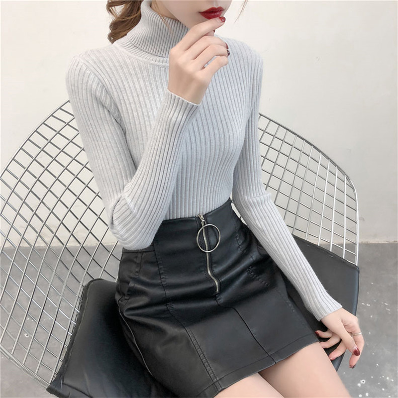 19 Women Sweater casual solid turtleneck female pullover full sleeve warm soft spring autumn winter knitted cotton 5
