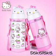 380ml lovely Hello Kitty portable girl stainless steel double layer vacuum insulation bottle with straw