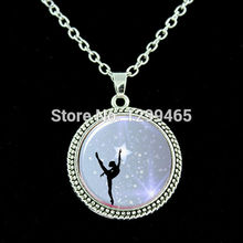 Dance Bottlecap glass Photo pendant Decoration ymnasts Pendant Necklace charms Ballerina personality Ornament Jewelry  N 013