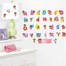 Baby gift Cartoon Dora children bedroom decor alphabet wall stickers for kids adhesive nursery wall decals poster mural