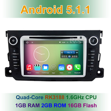 Quad Core 1024*600 Android 5.1.1 Car DVD Player GPS for Mercedes/Benz Smart Fortwo 2014 2013 2012 With BT Wifi Radio