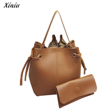 Xiniu Drawstring Women Bag Women Leather Handbags PU Bucket Purses And Handbags Bolso Mujer Moda #1129