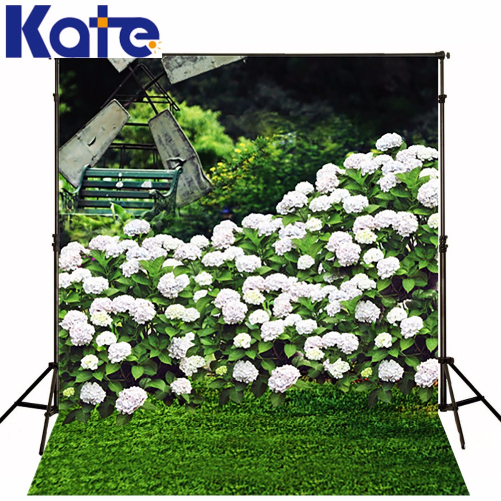 White Flower Wall Wedding  Backdrops Background For Photo  Green Lawn Windmill Valentine Photography Backdrops<br>