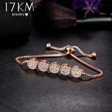 17KM 2017 Fashion Adjustable Bracelets For Women Pulseras Mujer Wedding Crystal Bracelet Charm Femme Party Jewelry Friend Gift(China)