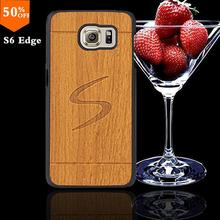 2016 wood wooden case for samsun samsung galaxy s6 s 6  edge wood skin case with hard by cover mobile phone covers free shipping