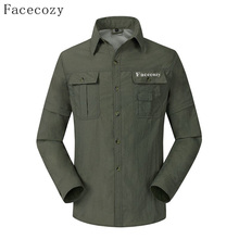 Facecozy Men Summer Quick Dry Shirts Removable Sleeve Thin Breathable Tops Outdoor Fishing Hiking Sport Durable UV Protect Coat(China)
