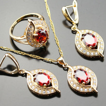 Noblest Red Created Garnet  Jewelry Set For Women  White Zircon Gold Color Rings/Earrings/Necklace/Pendant