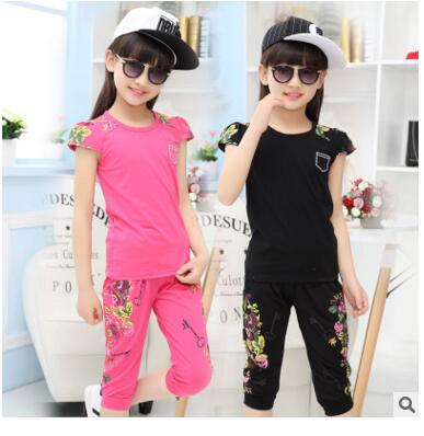 Free Shipping NEW Arrival 2017 Fashion Floral Girls100%cotton  short T-shirt+pants 2 pcs set for baby girls clothes 3-14Y <br><br>Aliexpress