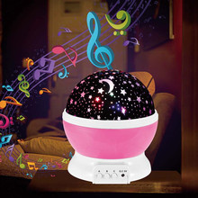 Dream Rotating Night Light Spin Flashing Starry Sky Star Projector Light with Music Player for Children Kids Baby Sleep Light(China)