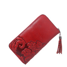 2017 High Quality New Style Embosses Flower Women's Wallet Wallets Purse female original leather Card Holder carteira feminina(China)