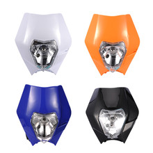 Promotion! 2016 Motorcycle Dirt Bike Motocross Supermoto Universal Headlight For Honda/Yamaha/Kawasaki/Suzuki/KTM Headlamp