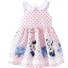 Cartton Girls Dresses 2017 New Summer Pink Dots Kids Dresses Sleeveless A-Line Toddler Childrens Dress Costume Clothes