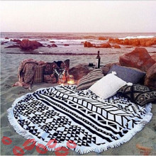Round Beach Towels Sport Printing Scarf Bohemian Circle Serviette De Plage Toalla Playa Swimming Bath Towel With Tassel