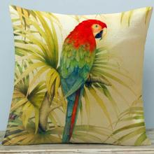 American Style Countryside Parrot Flower And Bird Printing Soft Short Plush Throw Pillow Sofa Office Cushion For Home Decor