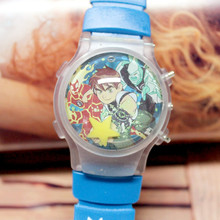 Most Welcomed Funny Children Watches Wholesale 100pcs/lot Waterball Cartoon Ben 10 Color Light Flashing Boy's Wristwatches Hot