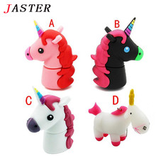 JASTER Unicorn style USB Flash Drive 100% Genuine cartoon Memory Stick Pendrive 4GB 8GB 16GB 32GB Pen Drive toy cute gift