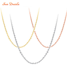 Gold / Rose Gold Genuine Real Pure Solid 925 Sterling Silver Basic Chains for Women Jewelry Female Short Clavicle Chain Necklace