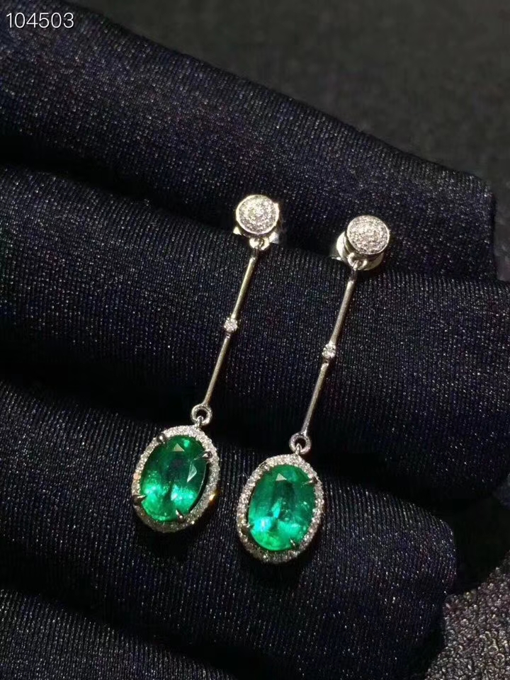 Fashion round Slub Line natural green emerald gem earrings Natural gemstone earrings S925 silver female party gift fine jewelry
