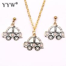YYW New Fashion Zinc Alloy Jewelry Sets Special Cool Bus Pendant Stud earring necklace iron oval chain stainless steel post pin