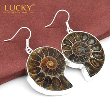 Best Seller! High Quality Earring 100% Hand made Natural Ammonite Earring Jewelry Free Shipping E0416