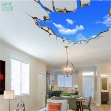 Removable 50x70cm Creative 3D Window Landscape Blue Sky White Cloud Home Decal Wall Sticker for House Living Room Roof Stickers