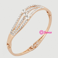 Fashion Bracelet Bangles 3 Rows Rhinestone Wave Shaped Hinged Bangle Bracelet for Women Birthday Gift Jewelry