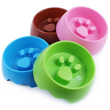 Raised Footprint Plastic Dog Bowl For Slow Feeder New Designs Anti Choke Bowl Suitable For Small Dog Cats Puppy(China)