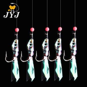 Купи JYJ 5 шт./упак. рыболовные крючки для поворотных крючок с веревкой для рыбалки рыбьей кожи рыбный запах Pesca комбинация крючок со шнурком с 5 мал... на алиэкспресс со скидкой