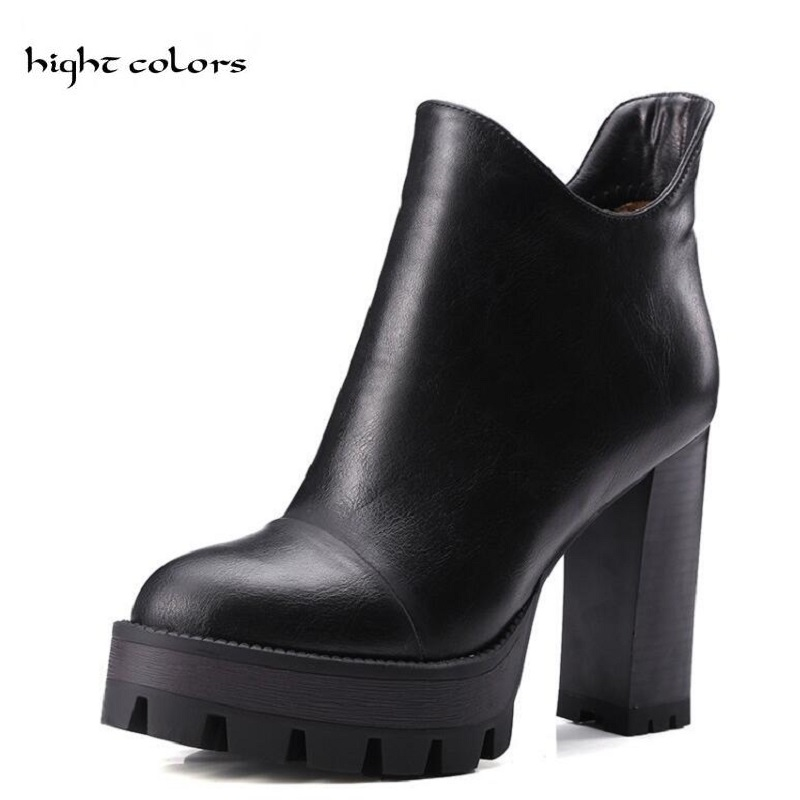 Fashion Womens Platform Chunky Heel Shoes Faux Leather Ankle Knight Boots For Women Black Brown Grey Martin Boots Big Size 42<br>