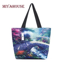 Miyahouse High Quality Landscape Printed Woman Canvas Shoulder Bags Casual Female Beach Bags Shopping Bag Ladies Canvas Tote