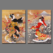 Black Red Kimono lady Japan style pictures decoration Plum flower Canvas Painting wall Art Picture Japanese living room unframed