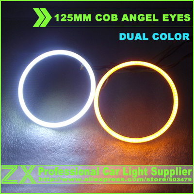 Dual color switchback white + yellow / white + red 2 colors 125mm angel eyes cob led halo ring lights light car styling parking<br><br>Aliexpress