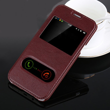 For Samsung galaxy J1 2016 Flip Case Smart Front Window View Leather Case Cover For Samsung J3 J5 J7 J710 2016 Phone Cases Bags